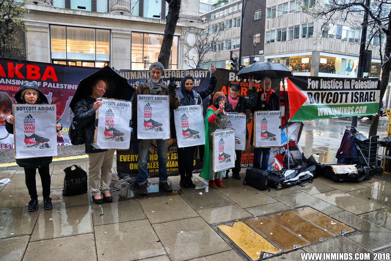 b69aef9cca London protest against Adidas sponsorship of illegal Israeli settlement  football +